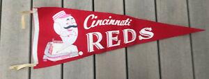 Vintage 1960s CINCINNATI REDS MLB BASEBALL PENNANT old mascot photo stadium