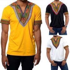 DASHIKI hommes chemise africaine hippie vintage femmes haut Tribal Chemisier S -