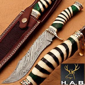 Damascus Steel Hunting Knife Handle Camel Bone Brass Green Sheet Bolster{QN-115}