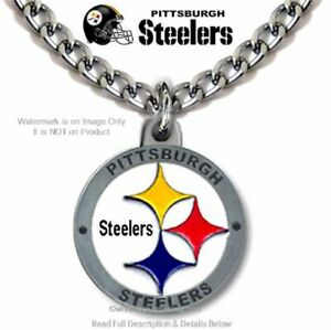PITTSBURGH STEELERS NECKLACE NFL FOOTBALL STAINLESS STEEL CHAIN - FREE SHIP NEW'