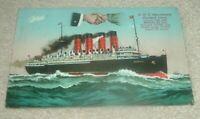 "Cunard Colour Postcard. RMS ""Mauretania"" Liner."
