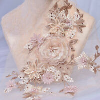 Delicate Beaded lace Patch 3D Flower Embroidery Applique for Party Costumes
