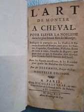 DELCAMPE : L'ART DE MONTER A CHEVAL + REMEDES, 1691 (sans les 3 planches)