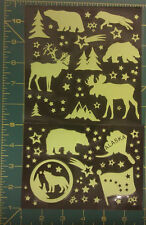 Alaska Glow in the Dark Stickers - 11 large, many small, moose, bear, more