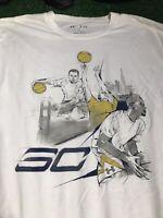 Stephen Curry Golden State warriors white T-shirt loose XL heat gear C2