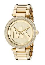 New Michael Kors Parker Gold Logo Crystal Stainless Steel Women's Watch MK5784