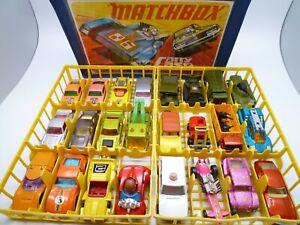 MATCHBOX SUPERFAST CARRY CASE & 24 CLEAN CARS / TRUCKS MINI HA HA DODGE 1970/80s