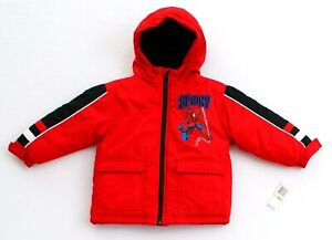 Marvel Kids Spiderman Red Spidey Hooded Insulated Jacket Toddler Boy's 2T NWT