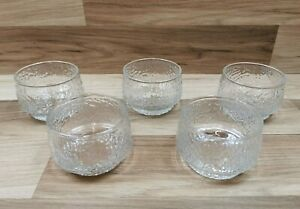 5 x Vintage Ravenhead Siesta Glass Sundae Dishes Bowls Ice Bark Texture 26cl