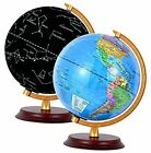 """8"""" LED Illuminated Globe for Kids with Wooden Base, 3 in 1 Interactive"""