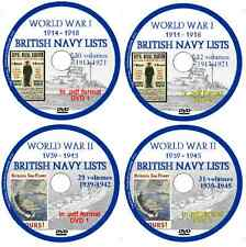 World War 1 & 2 British Royal Navy Lists 1914-1918 1939-1945, 122 Volumes 4 DVDs