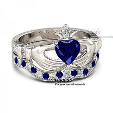 Created Blue Sapphire Bridal Ring Claddagh Ring, Irish Claddagh Friendship Heart