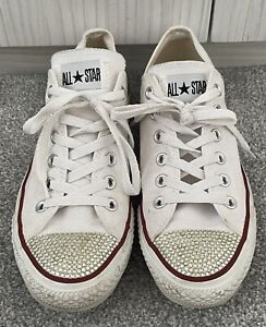 CONVERSE ALL STAR Pumps Size 7 Customised With Diamantes