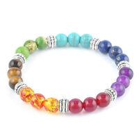 7 Chakra Healing Balance Prayer Beaded Bracelet Lava Yoga Reiki Stones xmas