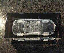 BNIB BOXED 3 D.  LASER GLASS CRYSTAL BLOCK  CAR ORNAMENT/  PAPERWEIGHT /TROPHY