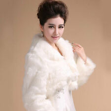 New Black Ivory White Long Sleeve Faux Fur Wrap Shrug Bolero Coat Bridal Shawl
