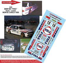 """DÉCALS 1/18 réf 333 BMW M3 """"FINA"""" Duez - Lopez MONTE CARLO 1989"""