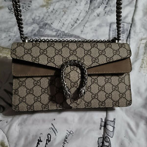 AUTHENTIC GUCCI DIONYSUS SMALL SHOULDER BAG TAUPE SUEDE TRIM