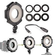 "160 LED Macro O-Ring Flash Light + 6 Rings 1/4"" Hot Shoe Adapter for DSLR Camera"
