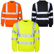 Mens Hi Viz Crew Safety Fleece Jumper Sweatshirt Visibility Work Security Top