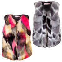 Girls Sleeveless Faux Fur Gilet Winter Vest Outerwear Body Warmer 3-14 Years
