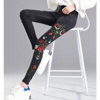 Women's Ankle Length Pants Floral Embroidered Denim Jeans Slim Legging Trouser