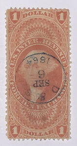 Travelstamps: 1862-1871 US Revenue Scott #  R68c $1 FOREIGN EXCHANGE USED, NG