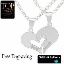 Personalised Best Friend Split Heart 2 Necklace Pendant Engraved Names Jewellery