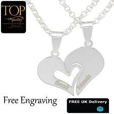 Best Friend Split Heart 2 Necklace Pendant Personalised Engraved Names Jewellery