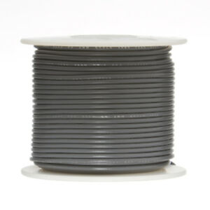 """24 AWG Gauge Stranded Hook Up Wire Gray 500 ft 0.0201"""" PTFE 600 Volts"""