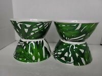 Tropical Tommy Bahama Palm Leaf Pattern Melamine 4 Bowls Green/White Soup/Salad