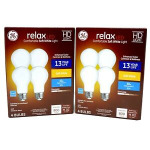 GE Relax LED Dimmable A19 Light Bulb Soft White 60 Watt Replacement (8-Pack)