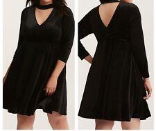 95242117c83 Torrid Black Velvet High Neck Cutout Skater Dress 2x With Tags