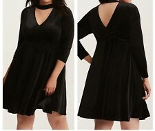 1bf7a91e40b59 Torrid Black Velvet High Neck Cutout Skater Dress 2x With Tags