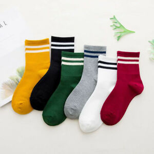 Fashion Women Cotton Striped Socks Soft Cute Solid Short Sport Casual Hosiery