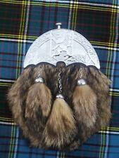 Men's Scottish Dress Leather Kilt Sporran Fox Fur Lion Rampant Chrome Finish