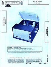 1960 TRAV-LER 1005 1105 RECORD PLAYER CHANGER SERVICE MANUAL PHOTOFACT REPAIR