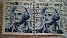 1981 U. S. Scott 1304c George Washington two used and cancelled 5 cent stamps