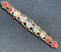 Antique Vintage Art Deco Bar Brooch Dress Pin Victorian Rhinestone Red Enameled