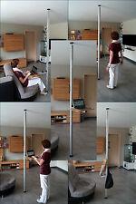 Steharbeitsplatz, Höhenverstelbarer Schrebtisch, Boden-Decken Stange mit Tisch
