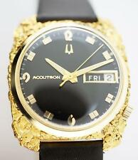 Super Clean 14k - 24k Custom Alaskan Natural Nugget Bulova Accutron Watch c1968