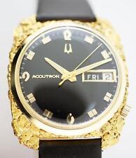 Super Clean 14k - 24k Custom Alaskan Natural Nugget Bulova Accutron Watch c1968
