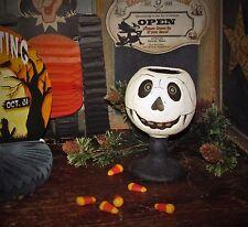 Primitive Vtg Style Halloween Paper Mache Jack-O-Lantern Skeleton Goblet AS IS