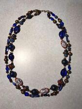 Vtg Large Bead Necklace Cobalt Blue + Various Colors ~ Double Strands ~ Handmade
