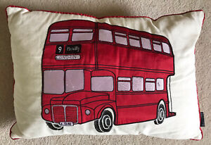 London Bus Appliqué & Embroidered Cushion 20x13.5 Inches 🧚