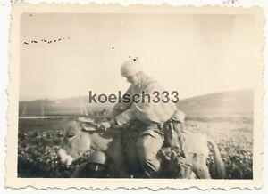 Foto Fallschirmjäger der Luftwaffe mit einem Esel auf Kreta in Griechenland 1941