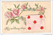Mes Meilleures voeux - carte système - fleurs enveloppe relief - voyagé 1934