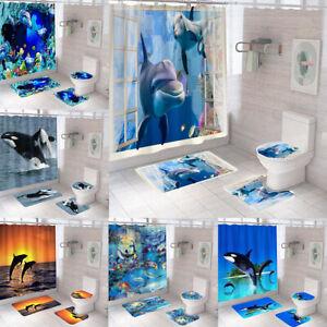 Dolphin Collection Shower Curtain Bath Mat Rug Set Toilet Cover Bathroom Decor