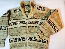 Vintage Cowichan Indian Sweater Jacket 100% Raw Wool Hand Made Size M - L