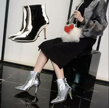 Womens Pointed Toe Side Zip Ankle Boots Patent Leather Shoes Stilettos High Heel